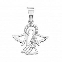 Кулон-ангел из белого золота с фианитами 000129462