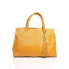 Кожаная сумка на каждый день Genuine Leather 8907 коньячного цвета на молнии с декоративной кистью