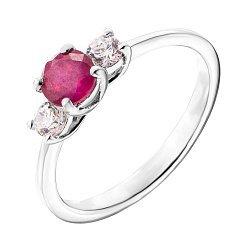 Серебряное кольцо с рубином и фианитами 000137272