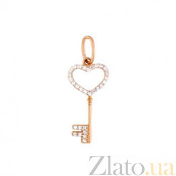 Золотой подвес с фианитами Счастливый ключ SUF--440438