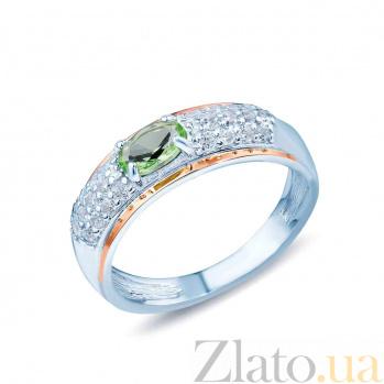 Серебряное кольцо Весенняя фантазия с фианитами и вставкой золота  AQA--326Кз
