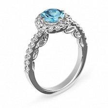 Золотое кольцо с топазом и бриллиантами Иоланта