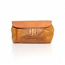 Кожаный клатч Genuine Leather 1385 рыжего цвета с принтом рептилии и плечевым ремнем