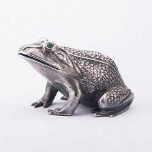 Серебряная фигурка ручной работы Лягушка перед прыжком