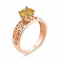 Кольцо из красного золота с цитрином и фианитами 000135260