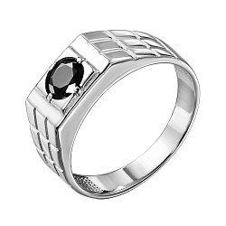 Серебряный перстень-печатка с черным фианитом 000140637