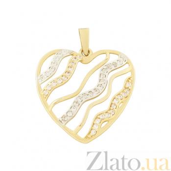 Золотой подвес с фианитами My heart 2П108-0050