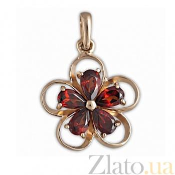 Золотой подвес с гранатом Аленький цветочек SVA--3107721/Гранат