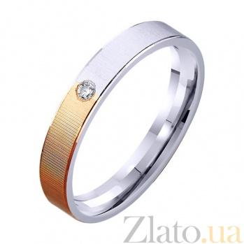 Обручальное кольцо из комбинированного золота Единство душ с фианитом TRF--422338