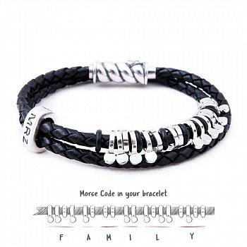 Кожаный браслет со словом Family из серебра азбукой Морзе 000050038