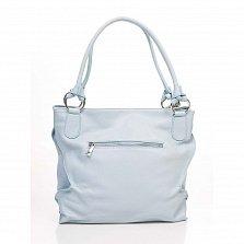 Кожаная сумка на каждый день Genuine Leather 8954 светло-синего цвета с декоративной кистью