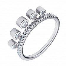 Серебряное кольцо Джуния с дорожкой и подвесками-фианитами в стиле Дамиани