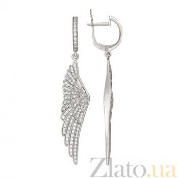 Серьги из белого золота с цирконием Крылья Ангела VLT--ТТ2530