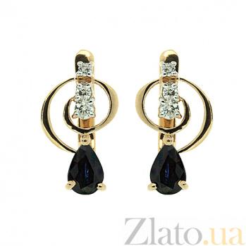 Золотые серьги с бриллиантами и сапфирами Виталия ZMX--EDS-5603_K