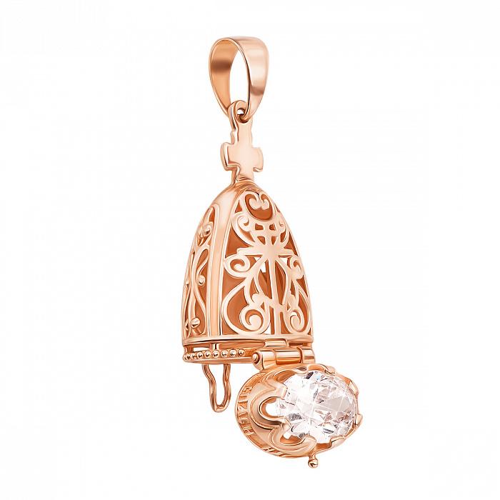 Ладанка-мощевик из красного золота Богородица с фианитами  000134534 000134534
