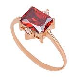 Золотое кольцо Мадлен с гранатом и фианитами
