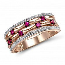 Кольцо из красного золота Ирина с бриллиантами и рубинами