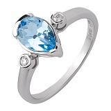 Кольцо из белого золота Исмаэлла с голубым топазом и бриллиантами