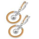 Серебряные серьги-подвески Идиллия с жемчугом, фианитами и золотой вставкой