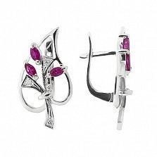 Серебряные серьги с бриллиантами и рубинами Диля