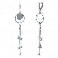 Серебряные серьги-подвески Микаэлла с шариками на цепочках