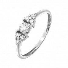 Золотое кольцо Оушен в белом цвете с бриллиантами