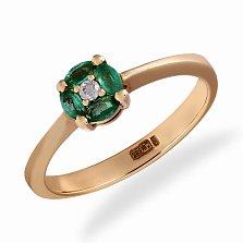 Кольцо в желтом золоте Белла с бриллиантом и изумрудами
