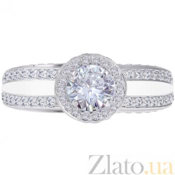 Золотое кольцо Прогулка в небесах с бриллиантами и эмалью 000029387