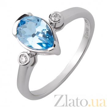 Кольцо из белого золота Исмаэлла с голубым топазом и бриллиантами TRF--1221298н/топ