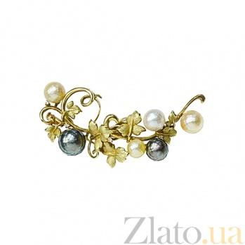 Золотая брошь с жемчугом и бриллиантами Южный берег 000026597