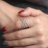 Серебряное кольцо Геометрика с фианитами