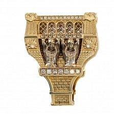 Дизайнерский перстень-печатка Атланты в красном золоте с монетой и фианитами