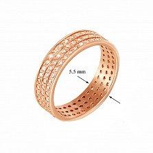 Обручальное кольцо Музыка сердца в красном золоте с фианитами