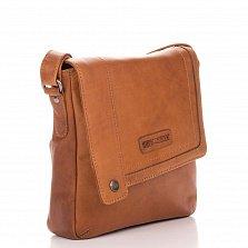 Кожаная мужская сумка HILL BURRY 3336 коричневого цвета на молнии с клапаном