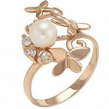 Золотое кольцо Мириам с жемчугом и фианитами
