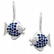 Детские серебряные серьги Целующие рыбки с синими фианитами