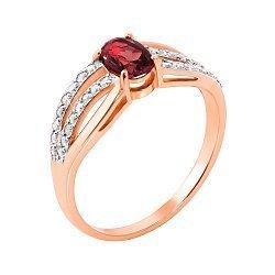 Золотое кольцо в комбинированном цвете с гранатом и цирконием 000143508