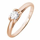Золотое кольцо Совершенство в красном цвете с фианитом