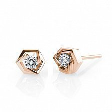 Золотые серьги-пуссеты Princess Earrings в красном цвете с бриллиантами, 0,18ct