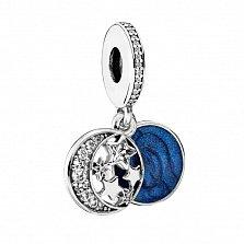 Серебряный шарм с двумя подвесками Зимняя ночь с фианитами и темно-синей эмалью в стиле Пандора