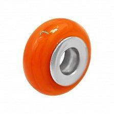 Серебряный шарм Хурма с оранжевым муранским стеклом