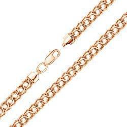 Браслет из красного золота в плетении королевский бисмарк с алмазной гранью 000103646