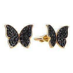 Серьги-пуссеты из желтого золота с черными фианитами 000133154