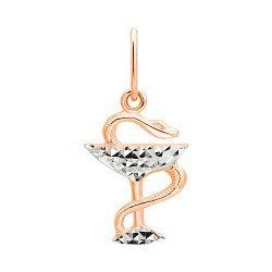 Золотой кулон Чаша Гигеи в комбинированном цвете с алмазной гранью