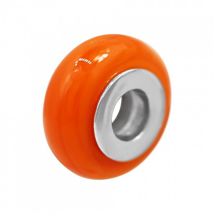 Серебряный шарм Хурма с оранжевым муранским стеклом 000081720