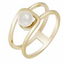 Кольцо из желтого золота с жемчугом Шум прибоя