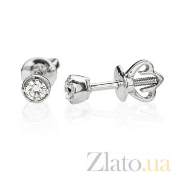 Золотые серьги-пуссеты с бриллиантами Amore E 0689/бел