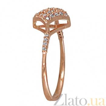 Кольцо в красном золоте Рим с фианитами 000022929