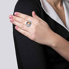 Серебряное кольцо с муранским стеклом и фианитами Аврора
