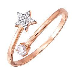 Золотое разомкнутое кольцо в комбинированном цвете с фианитами 000138371